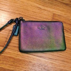 Coach Wristlet Iridescent Wallet Metallic Leather